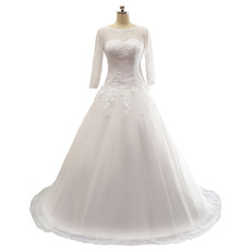 2018 New A-Line Floor Length Wedding Dress with 3/4 Long Sleeves