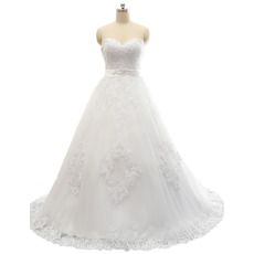 Discount A-Line Sweetheart Sweep Train Satin Tulle Wedding Dress