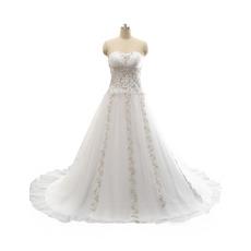 2018 Style A-Line Sweetheart Sweep Train Beading Wedding Dress