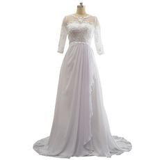 Custom Sweep Train Chiffon Wedding Dress with 3/4 Long Sleeves