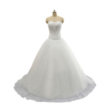 Inexpensive A-Line Sweetheart Court Train Lace-Up Wedding Dress
