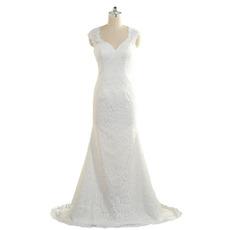 Elegant Sheath Sweetheart Sleeveless Floor Length Lace Wedding Dress