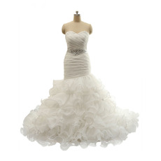 2018 New Style Trumpet Sweetheart Long Ruffle Skirt Wedding Dress