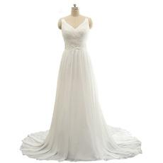 Custom V-Neck Sweep Train Chiffon Wedding Dress with Straps