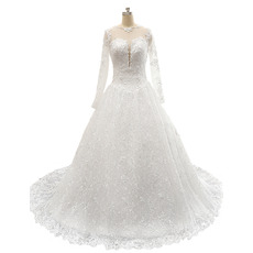 Affordable A-Line Court Train Lace Wedding Dress with Long Sleeves