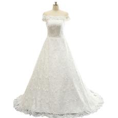 Elegant A-Line Off-the-shoulder Sweep Train Lace Wedding Dress