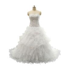 2018 New A-Line Sweetheart Sweep Train Ruffle Skirt Wedding Dress