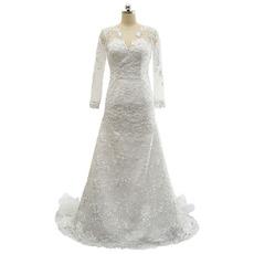 Custom V-Neck Floor Length Lace Wedding Dress with Long Sleeves