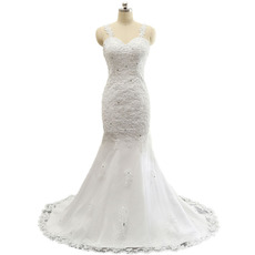 Discount Sheath Sweetheart Floor Length Wedding Dress with Straps