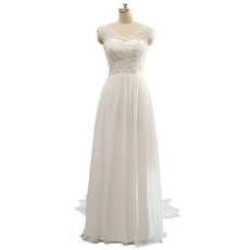 Simple V-Neck Sleeveless Floor Length Chiffon Wedding Dress
