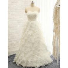 Stunning Sweetheart Floor Length Tulle Ruffle Skirt Wedding Dress