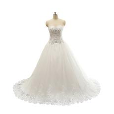 Classic Sweetheart Chapel Train Satin Organza Plus Size Wedding Dress