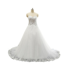 Women's Sweetheart Chapel Train Satin Organza Plus Size Wedding Dress