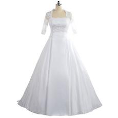 2018 Square Floor Length Taffeta Plus Size Wedding Dress with Half Sleeves
