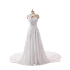 Elegant Sweetheart Long Chiffon Wedding Dress with Straps