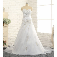 Custom A-Line Sweetheart Sweep Train Chiffon Plus Size Wedding Dress