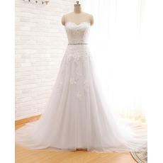 Modern A-Line Sweetheart Court Train Organza Wedding Dress