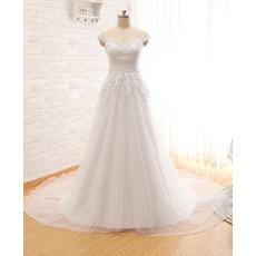 Beautiful Sweetheart Court Train Organza Wedding Dress with Straps