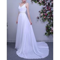2018 Simple V-Neck Sleeveless Sweep Train Chiffon Wedding Dress