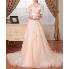 Modern V-Neck Sweep Train Lace Wedding Dress with Long Sleeves