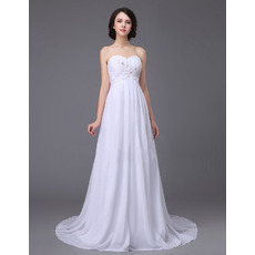 Simple Sweetheart Sweep Train Chiffon Empire Waist Wedding Dress