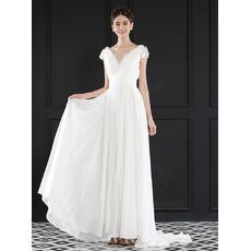 2018 Chic V-Neck Floor Length Chiffon Wedding Dress with Short Sleeves