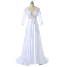 Sexy V-Neck Satin Slit Wedding Dress with 3/4 Long Sleeves