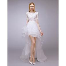 2018 Designer High-Low Petite Wedding Dress with Short Sleeves