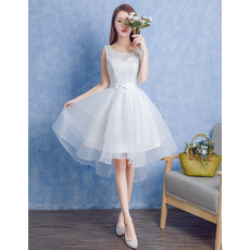 Beautiful A-Line Sleeveless Knee Length Lace Organza Wedding Dress
