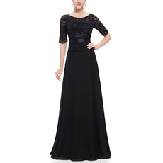 Inexpensive Elegant Long Lace Chiffon Black Mother of the Bride Dress with Short Sleeves
