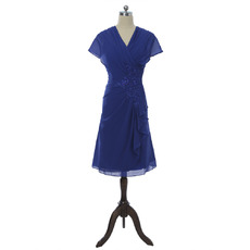 Designer Simple V-Neck Knee Length Chiffon Mother Dress with Cap Sleeves