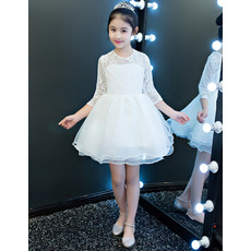 Affordable Cute Short Organza Little Girl Party Dress with Long Sleeves