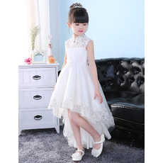 Adorable Kids Mandarin Collar High-Low Organza Flower Little Girl Dress