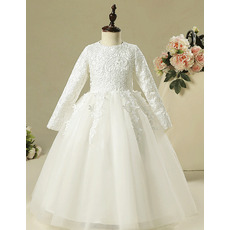 Adorable Classy Long Lace Organza Flower Girl Dress for Wedding Party with Long Sleeves