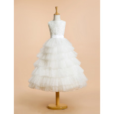 Custom Lovely Sleeveless Lace Organza Layered Skirt Flower Girl Paty Dress