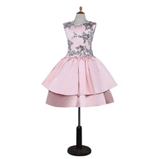 Kids Pretty A-Line Sleeveless Knee Length Satin Little Girl Party Dress