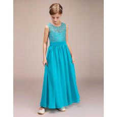 Affordable Ankle Length Chiffon Lace Junior Bridesmaid Dress