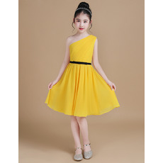 Discount One Shoulder Knee Length Junior Bridesmaid Dress with Belt