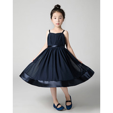 Inexpensive Spaghetti Straps Long Chiffon Junior Bridesmaid Dress