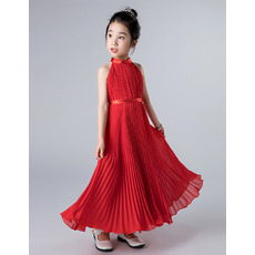 Adorable Halter Ankle Length Chiffon Pleated Junior Bridesmaid Dress