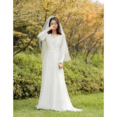 2019 New Style Long Sleeves Long Chiffon Reception Wedding Dresses