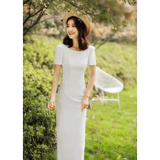 2019 Style Short Sleeves Floor Length Satin Reception Wedding Dresses