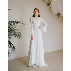 2019 New Style Long Lace Reception Wedding Dresses with Long Sleeves