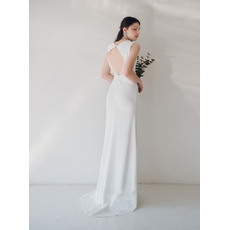 Custom Sheath Sleeveless Floor Length Satin Reception Wedding Dresses