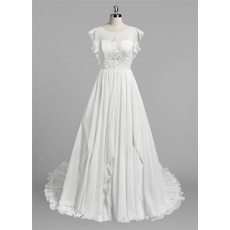 Elegant A-Line Sleeveless Floor Length Chiffon Wedding Dresses