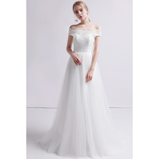 Custom A-Line Off-the-shoulder Floor Length Organza Wedding Dress