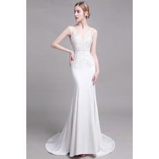 Sexy Mermaid V-Neck Sleeveless Floor Length Lace Satin Bridal Dress