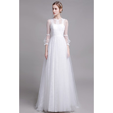 Discount Floor Length Organza Lace Bridal Dress with Long Sleeves