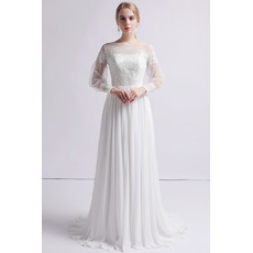 Vintage Long Chiffon Organza Wedding Dress with Long Sleeves