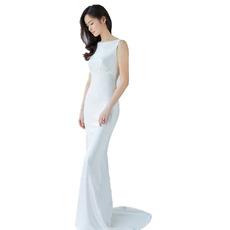 Inexpensive Sexy Sheath Floor Length Satin V-Back Wedding Dress